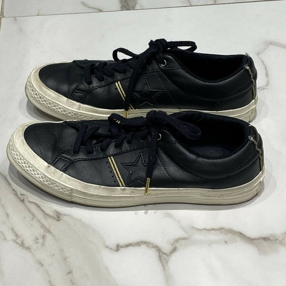Converse All Stars Black Leather Mens 7.5 Women 9